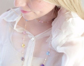 ON SALE 15% OFF Custom Made to Order - Long Layer Necklace with Multi-Gemstones and Freshwater Pearls