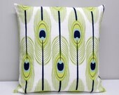 Royal Peacock Feathers decorative throw pillow cover accent cushion sham in white navy blue lime green citrine