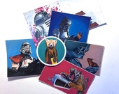 6 Vinyl Stickers in Assorted sizes and images from original artwork