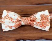 Boys Bow Tie - tan orange cream cherry blossoms cotton bowtie, baby bow tie, toddler bow tie, child bow tie, little boy bow tie, wedding tie