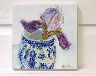 Alley Iris orginal acrylic flower painting by Polly Jones