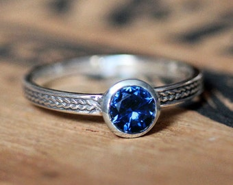 Sapphire ring silver, blue sapphire ring, september birthstone ring, saphire ring, wheat ring, braided ring, imitation sapphire, custom made