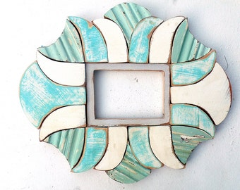 Mosaic picture frame Reclaim wood frame Wooden Frame 5x7 photo frame Rustic frame Beach picture frame Wood Picture Frame Aqua Picture Frame