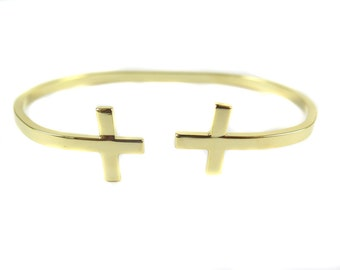 Gold Plated Double Cross Cuff - (1x) (K710)