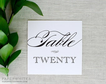Wedding Table Number Cards, Classic Table Numbers, Formal Wedding Table Numbers, Black and White Wedding Reception, Printed Table Numbers