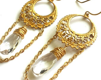 Clear Crystal Chandelier Earrings- Vintage Brass - Bohemian Boho Style