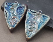 Urban Industrial Raku Earring Shield Daggers