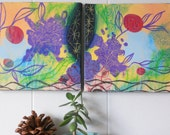 if I have to choose between.. original mixed media art canvas diptych. one of a kind. ready to hang. colorful wall decor.