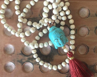 BoHo Mala inspired Necklace - Turquoise, Wine and Winter White