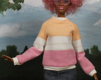 "Sorbet Stripe Sweat Shirt for 12"" Fashion Dolls"