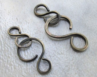 Handmade Antique Brass Clasp, Hand Forged Hammered Hook & Connector, Two Sizes... Choose One or Both, Jewelry Components