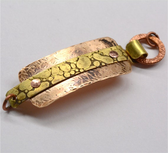 Hand forged mixed metal bracelet focal component bronze