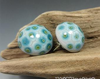 SRA Handmade EARRINGS Sterling Ear Studs Donna Millard lampwork beads boho tribal hippie hip bohemian gift her