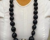 Black kukui nut shell lei or necklace , polynesian jewelry, very long