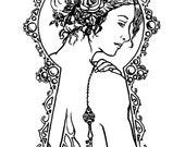 Downloadable coloring page Mistress of the Key fantasy art nouveau