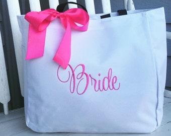 Monogrammed Tote Bag BRIDE Bridal Party Wedding Embroidered White Aqua Embroidered Bride bag bride tote