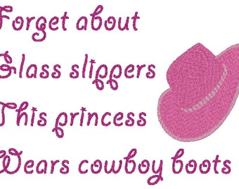 Princess Cowboy boots embroidery design