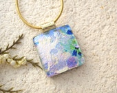 Petite Glass Necklace, Dichroic Jewelry. Ccvalenzo, Rainbow Pendant, Blue Pink Gold Necklace, Fused Glass Jewelry, Gold Necklace, 022616p104