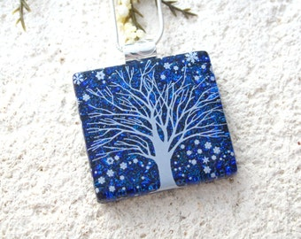 Snow Tree, Fused Glass Jewelry, Winter Tree, Fused Glass Pendant, Dichroic Jewelry, Holiday Jewelry, Necklace Included, Cobalt 121215p116