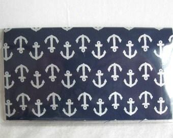 Nautical Checkbook Holder - Navy Anchors Checkbook Case - Checkbook Cover for Duplicate Checks -Nautical Cash Envelope