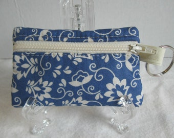 Floral Coin Purse - Blue Change Purse - Key Chain Coin Purse - Blue Cream Floral Ear Bud Case -  Small Zippered Pouch - Padded Change Purse