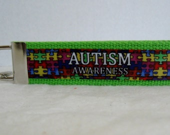 Autism Key Chain  - Autism Awareness Keychian - Puzzle Pieces - Fabric Key Fob - LIME