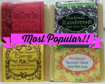 Goat Milk Soap most popular asst, Handmade Soap, Cold process soap, sensitive skin, DeltaMoonSoap, shaving soap, mature skin,