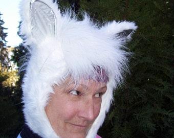 Mystic Pegasus Hat Adult Furry Fantasy Hood Silver White Geek Christmas Gift Faux Fur Furries Fetish Horse Donkey Pegasus Costume