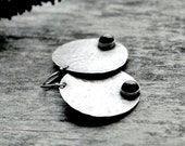 Black Onyx Earrings, Full Moon Large Disc Dangles, Hammered Sterling Silver  Circle, Celestial Jewelry - Full Moon