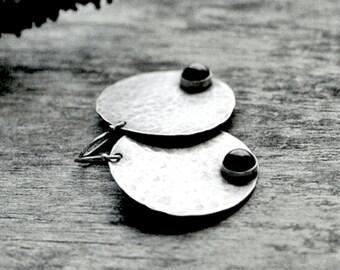 Black Onyx Earrings - Full Moon Earrings - Large Disc Earrings - Hammered Circle Earrings - Sterling Silver - Celestial Jewelry - Full Moon