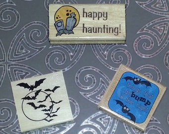 3 Halloween Stamps, Bats, Cemetary, Happy Haunting, Things that go bump in the night,  Woodblock Mounted Rubber Stamps, spooky, tombstones