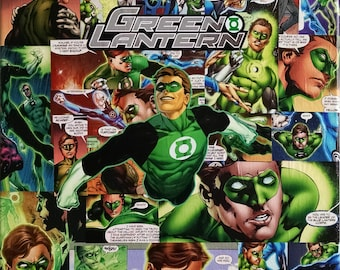 Green Lantern - Decoupaged Comic Collage Canvas