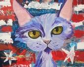 Padgett Mason original Mixed Media painting Funky Feline Kitty Cat