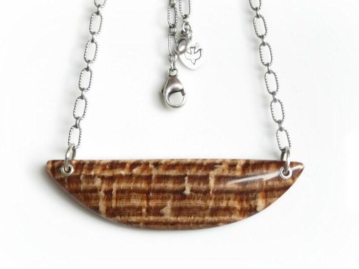 petrified wood necklace large wood grain fossil pendant