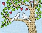 Birds in love - Original ACEO miniature illustration - tree with birds - lovebirds