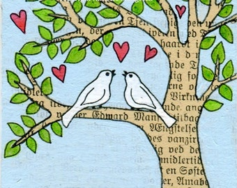 Birds in love - Original ACEO miniature illustration - tree with birds - lovebirds