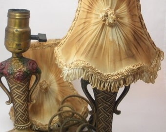 Set of Two Antique Boudoir Lamps with Shades for Restoration