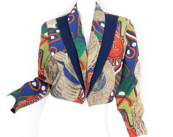 Sz 12 80s Cropped Print Blazer - Vintage Women's Colorful Componix African Inspired Rayon Tuxedo Cut Open Front Jacket - Size 12 Large