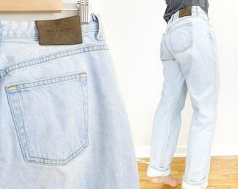 Sz 10 90s High Waisted Baggy Calvin Klein CK Jeans - Vintage Women's Easy Fit Loose Boyfriend Jeans - 31 Waist
