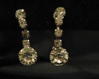 Vintage Clip On Silver and Crystal Dangle Earrings