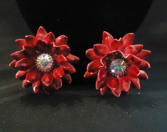 Vintage Red Enamel Flower Clip Earrings with Clear Iridescent Crystals