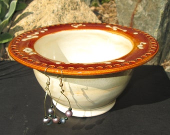 Handmade Earring Bowl - Jewelry Holder in Rich Cream and Amber