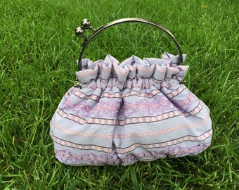 Purse in Purple and White Woven Striped Shirting with Purple Embroidery