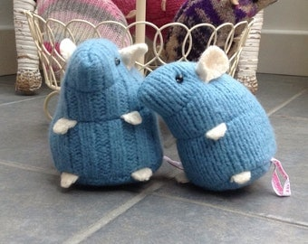 Blue plush hamster made from recycled jumper sweater