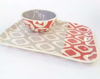Tray split color- tomato red and pale grey- ready to ship