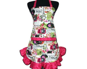 Woman's Retro Kitchen Apron, Romance in Paris,  Eiffel Tower and Flowers, Pink ruffle