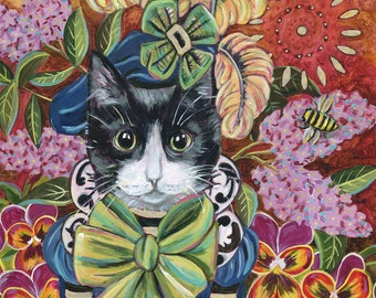 """8x8 inch Archival Print on Panel, """"The Kitty From Lilac City"""""""