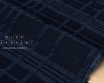 Japanese Fabric Kokka Tsumiki Enshuku Corduroy plaid - navy blue - 50cm