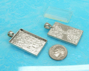 40pcs 21X33mm Great rectangle silver tone Pewter bezel blank Pendant Tray