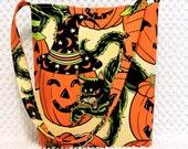 Halloween Purse, Halloween Cat Hobo Bag, Handmade Halloween Shoulder Bag, Alexander Henry Pumpkin Party Fabric Purse, Scary Black Cat Purse